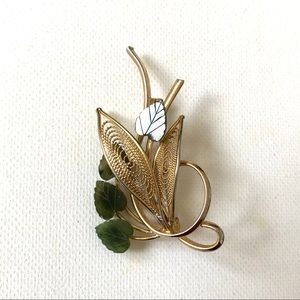 Vintage Gold-tone Pin with Jade Leaves